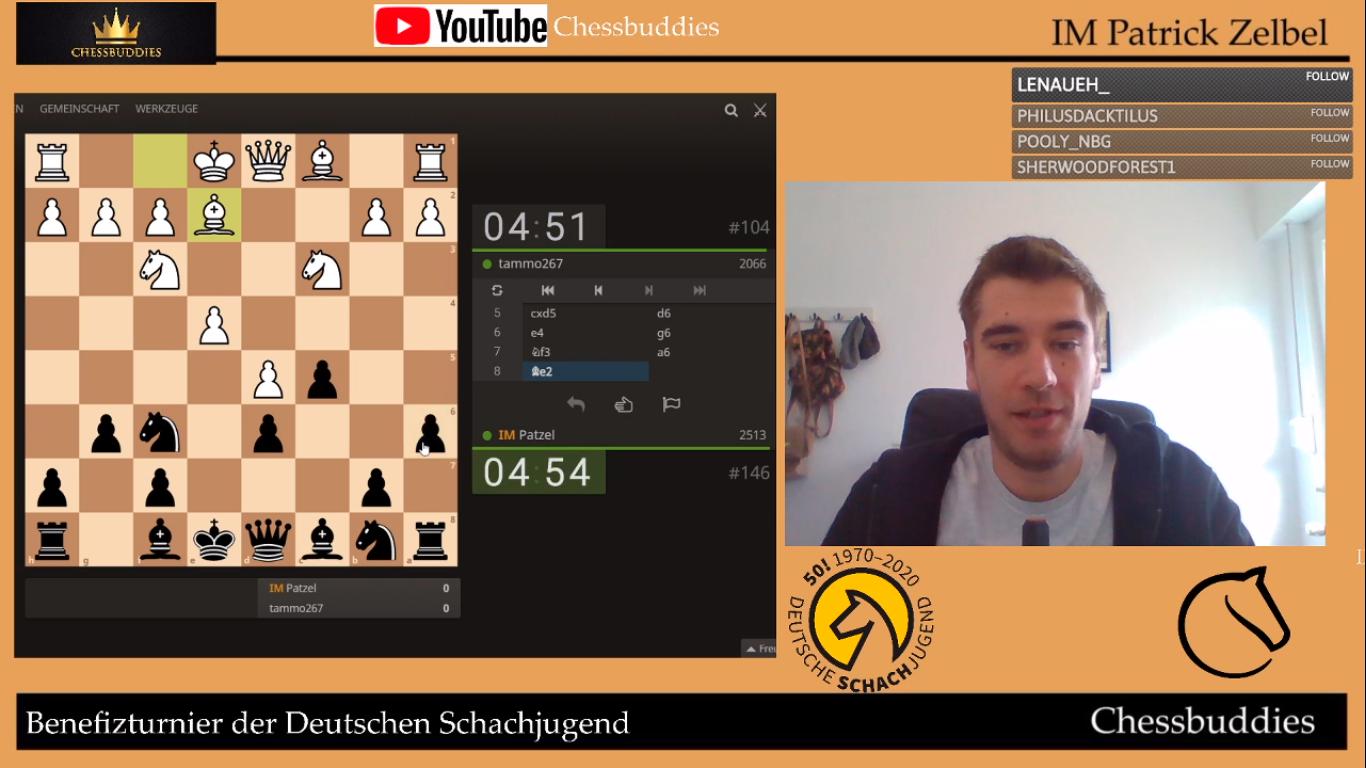 """IM Patrick Zelbel auf dem Twitchkanal der """"Chessbuddies"""""""